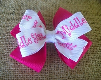 Toddler Hair Bow, Middle Sister Double Pink Hairbow, Pink Double Boutique Hair Bow. Big Little Middle Sister Hair Bow