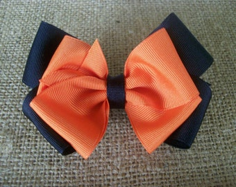 Toddler Hair Bow, Black and Orange Double Boutique  Hair Bow