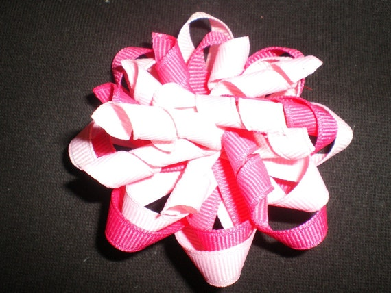 Light and Dark Fushia Pink Korker Twist Pinwheel Hair bow