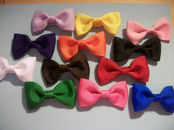 Infant Hair bows, 12 Mini Multi Color Hair Clips, 1 each of 12 different colors