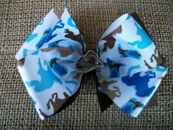 Toddler  Western Cowgirl Hair Bow, Brown with Blues Double Boutique Hair Bow with Cowboy Hat, Hair Bow, Girls Hairbow, Bow