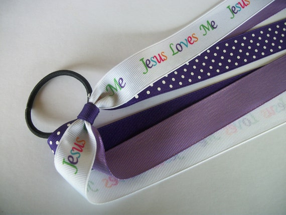 Jesus Love Me  Pony Tail Holder Cheer Hair Bow with Streamers, Elastic Pony Tail Hair Bow