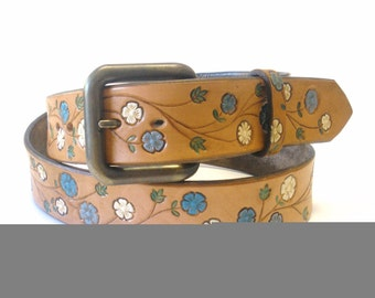 Tan Brown Leather Belt with Blue and Cream Hand Stamped Flowers Retro Boho Hippie Women's Leather Belt