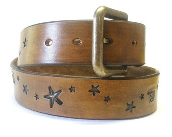 Antiqued Brown Belt with Stars Brown Leather Belt Mens Leather Belt Womens Leather Belt