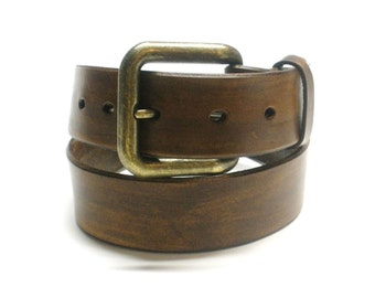 Antiqued Brown Leather Belt Handcrafted Men's Women's