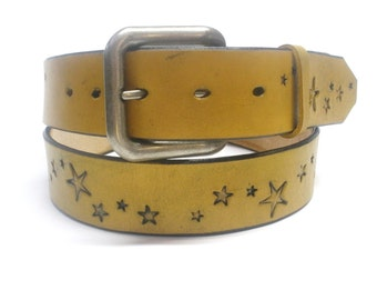 Distressed Yellow Belt with Stars Mens Leather Belt Womens Leather Belt Handcrafted