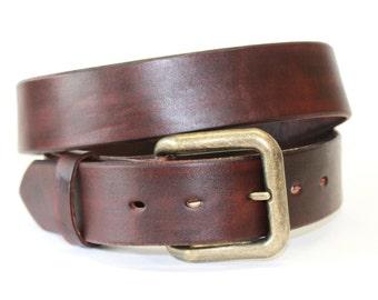 Mahogany Brown Leather Belt Handcrafted Men's  Women's