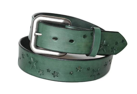 Green Leather Belt with Stars Men's Women's Custom Sized