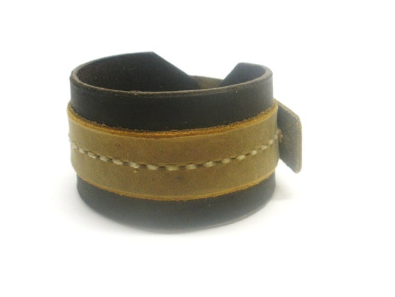 Brown Leather Cuff Bracelet Dark Brown Leather Adjustable Two Toned Handcrafted