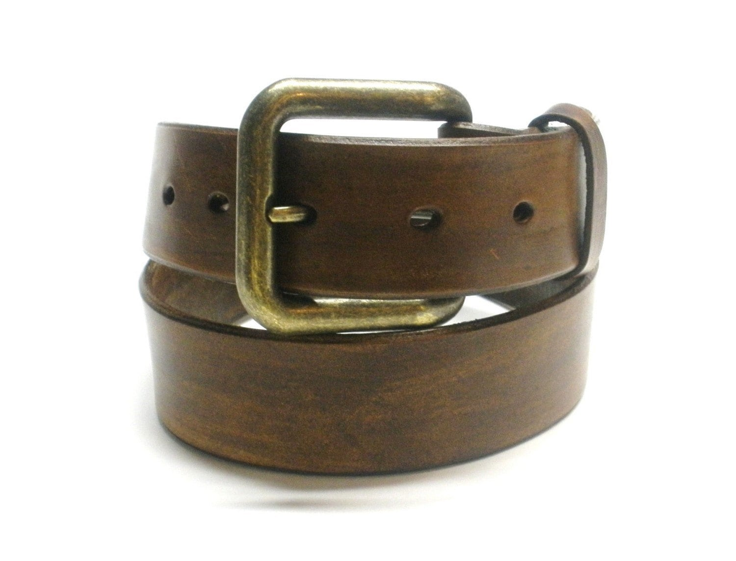 antiqued brown leather belt handcrafted s s