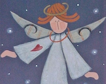 Prim Hand Painted Angel, Sweet Dreams Slate Plaque