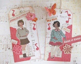 Handmade Tags With Repro Vintage Catalog Images