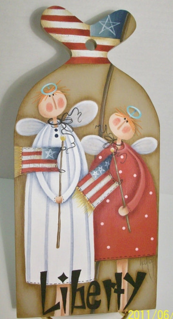 Patriotic Liberty Angels Handpainted on Small Paddle Shape