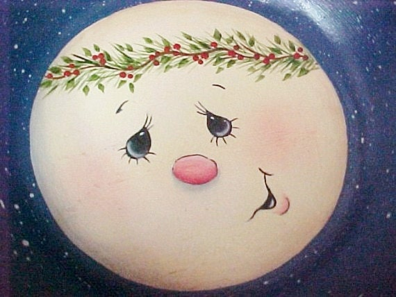 Hand Painted Small Wood Bowl with Snowman Face in Bottom