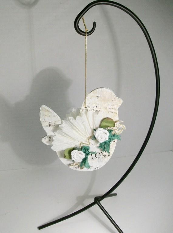Collage Altered Art Bird Ornament