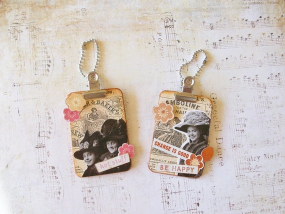 Two Handcrafted Magnets, Mini Clipboards With Collage Decoration