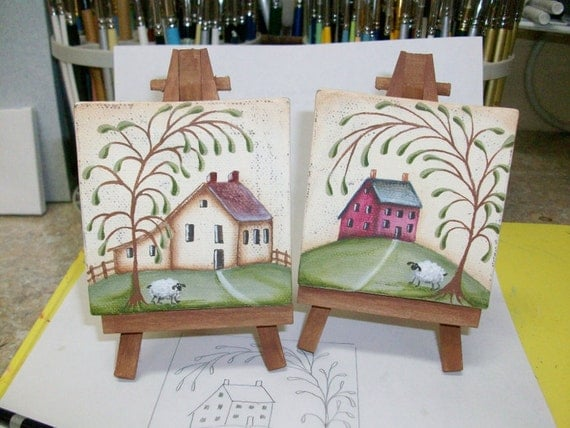 Two Mini Canvas Prim Saltbox Paintings With Easels