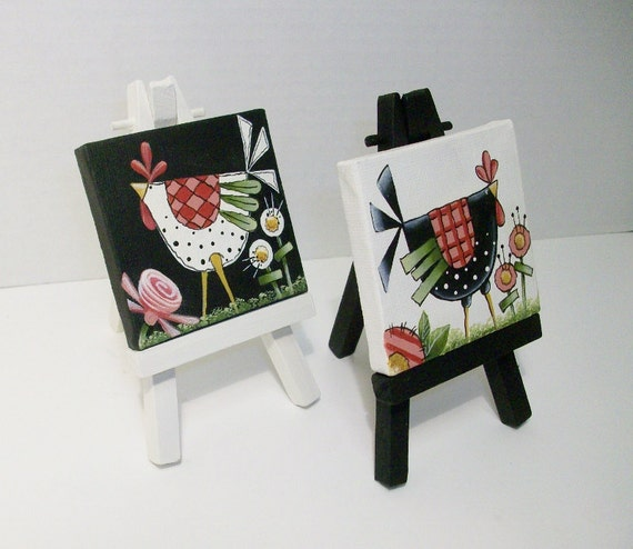 Two Mini Canvas Funky Chicken Paintings With Easels