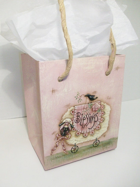 Hand Painted Sheep On Paper Mache Sack Shaped Box