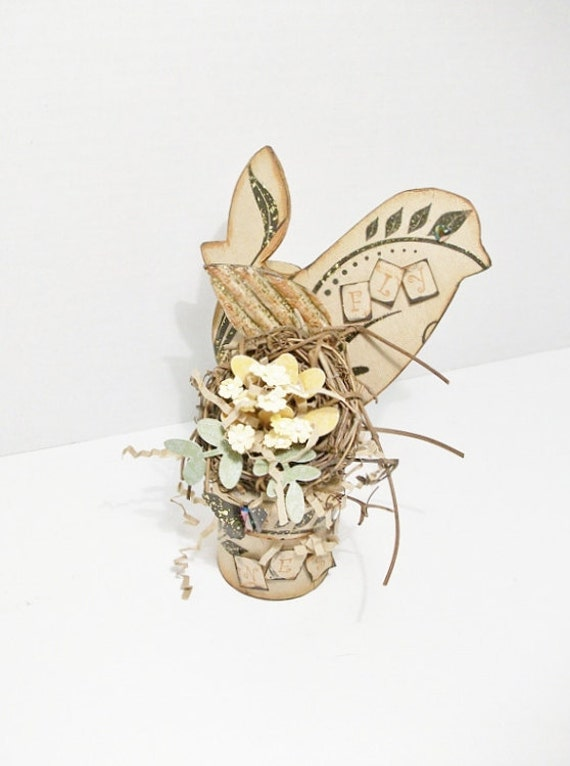 Hand Crafted Bird And Nest Assemblage