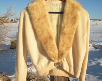 GLAMOROUS Vintage 1950s Regalia Cashmere Mink Collared Rhinestoned Sweater