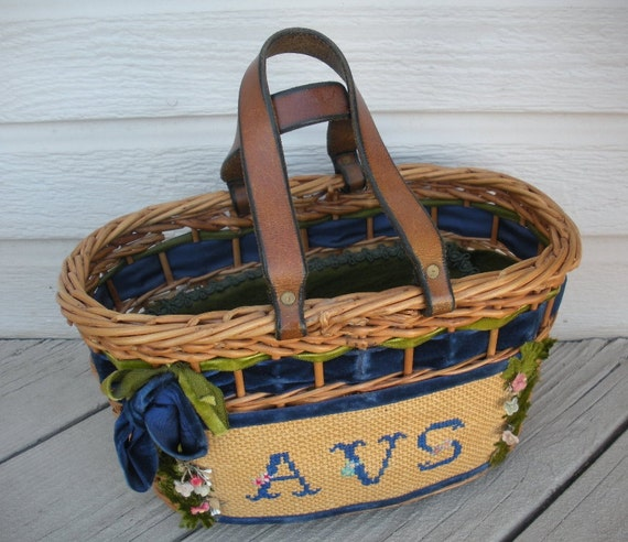 Absolutely ADORABLE Vintage 1960s TONI Cotton Palm Beach Wicker Rattan Tote AVS