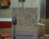 Hand stamped Notecards Recipe of Life - Set of 4