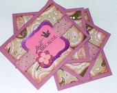 Set of 4 Pink and Brown Paisley cards