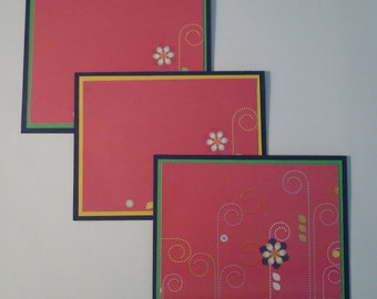 Set of 3 Flower and Swirl Cards