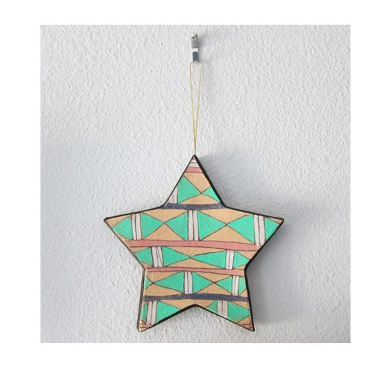 RESERVED for  lovemonkeymedia - Tribal Triangle Star Ornament