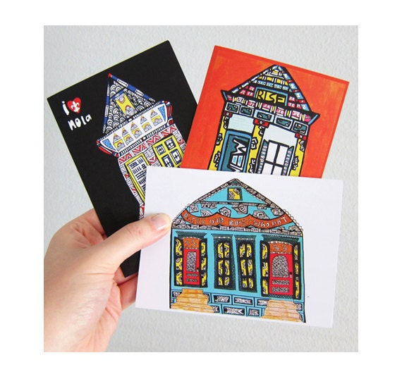 Houses in a Row (Set of New Orleans Shotgun Greeting Cards)