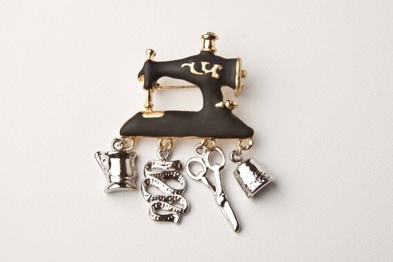 Sewing Machine with Charms Brooch / Pendant