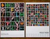 2 Posters: NYC Neon ABCs & New York Neon 100 (13x19) -- Colorful Details of New York's Beautiful Neon Signs