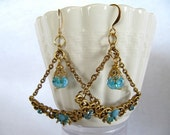 Handmade Earrings - OOAK Victorian Inspired Assemblage with Blue Crystal Beads - Romantic