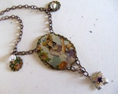 Handmade Vintage Tin Necklace - Repurposed Amethyst Flower Charm - Victorian Inspired - OOAK Recycled Creation