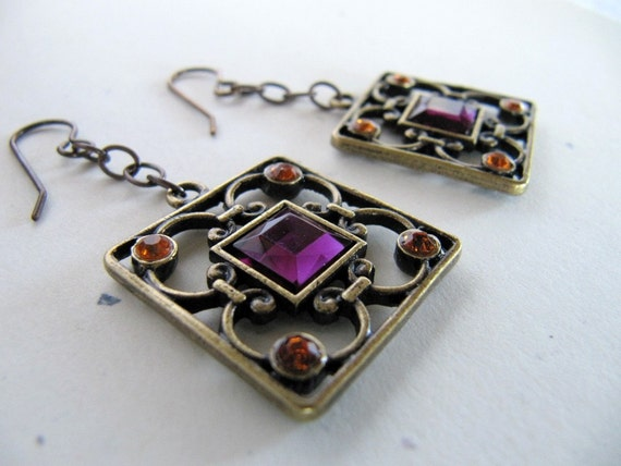 Baroque Style Earrings Antiqued Brass Autumn Inspired  Royal Purple and Golden Crystal