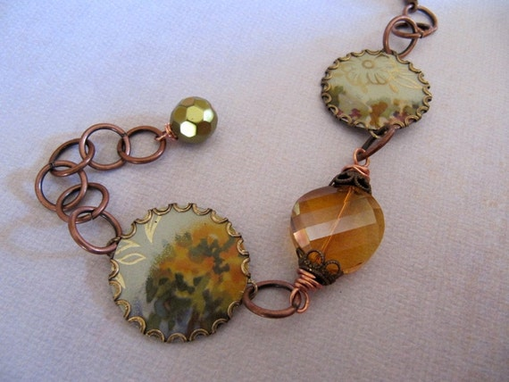 Handmade Vintage Tin Charm Bracelet - Antiqued Brass with Golden Crystal Beads - OOAK Recycled Creation