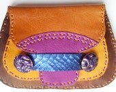 Umami Road handmade leather wallet/clutch in golden browns and purple/violet
