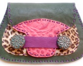 Umami Road handmade leather wallet/clutch in green, plum, pink and leopard