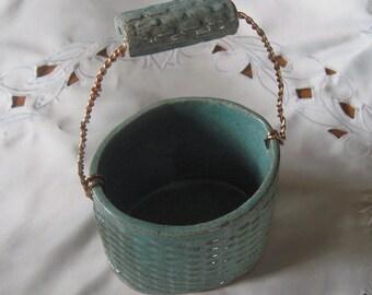 Ceramic Stoneware Decorative Basket Easter hand built