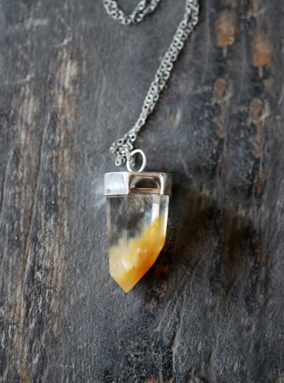 Orange Ombre Quartz Crystal Pendant