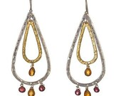 Silver Earrings Hammered Gemstone Earring Sterling Silver Garnet Citrine beaded earrings
