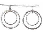 Hammered Earrings Large Hoop Earrings Sterling Hammered Double Hoops