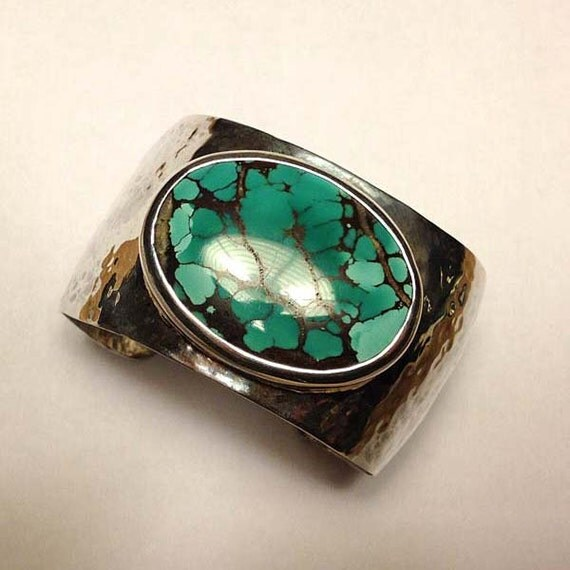 Wide Hammered Sterling Silver Cuff Bracelet with Huge Turquoise Stone