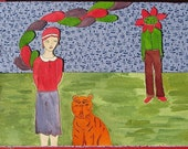 Olga and Gottfried the Tiger are Simultaneously Bemused and Amused by the Appearance of The Flower Man.