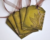 Gift Tags - Stamped Red Oak Type Leaf on Calligraphy Pattern Set of 5