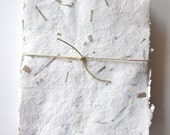 Handmade Paper with Brown Kraft Confetti, Recycled, Pack of 10 Sheets