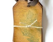 Handmade Tags, Set of 6 Stamped Honey Gold Tags with Fall Leaf