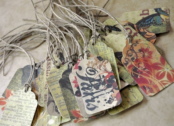 Tiny Vintage Collage Art Tags Set of 50 MADE UPON ORDERING