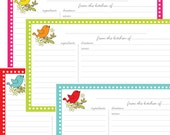 Song Birds 3X5 Printable Lined Recipe Cards Digital File - Instant Download - no. 808